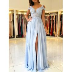 Chiffon Short Sleeves A-Line/Princess Prom Dresses Off-the-Shoulder Appliques Lace Floor-Length