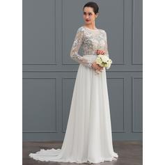 longueur de thé robes de mariée simples