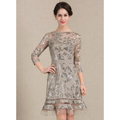 Sheath/Column Scoop Neck Knee-Length Sequined Mother of the Bride Dress