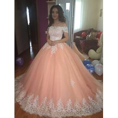 Ball-Gown Magnificent Off-the-Shoulder Tulle Prom Dresses