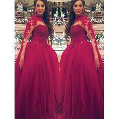 Glamorous Tulle Evening Dresses Ball-Gown Floor-Length Scoop Neck Long Sleeves