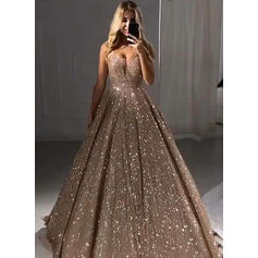 Floor-Length Regular Straps Sequined A-Line/Princess Prom Dresses