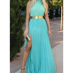A-Line/Princess Scoop Neck Chiffon Sleeveless Sweep Train Split Front Evening Dresses
