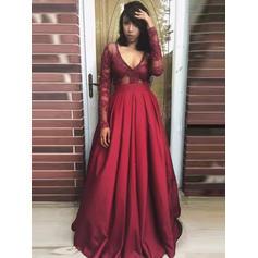 Glamorous Satin Evening Dresses A-Line/Princess Floor-Length V-neck Long Sleeves