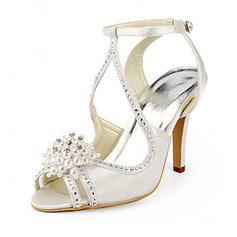 Women's Sandals Stiletto Heel Satin With Imitation Pearl Wedding Shoes