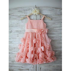 Correas de hombro Corte A/Princesa Vestidos para niña de arras Gasa/Tul Flores/Lazo(s) Sin mangas Hasta la tibia (010211878)