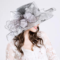 Cotton/Net Yarn With Silk Flower Floppy Hat Gorgeous Ladies' Hats