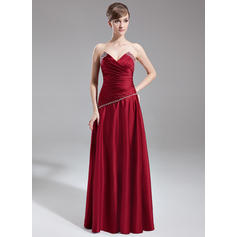 A-Line/Princess Satin Bridesmaid Dresses Ruffle Beading Scalloped Neck Sleeveless Floor-Length (007001127)