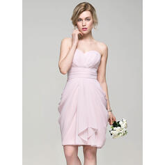 Sheath/Column Sweetheart Knee-Length Chiffon Bridesmaid Dress With Cascading Ruffles (007074190)