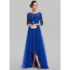 A-Line Scoop Neck Asymmetrical Tulle Evening Dress With Ruffle Beading