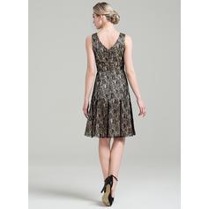 Vestidos princesa/ Formato A Renda Sem magas Decote V Coquetel Zipper nas costas Vestidos para a mãe da noiva (008085292)