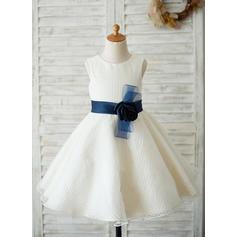 Corte A/Princesa Hasta la rodilla Vestidos de Niña Florista - Tul Sin mangas Escote redondo (010131722)