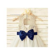 Decote redondo Vestidos princesa/ Formato A Vestidos de daminha Cintos/Curvado Sem magas Comprimento médio (010211930)