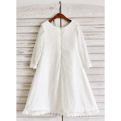 Forme Princesse Longueur mollet Robes à Fleurs pour Filles - Dentelle Manches longues Col rond (010091387)