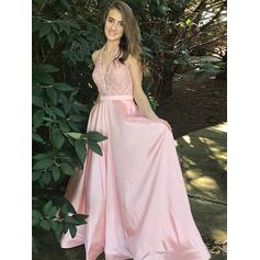 A-Line/Princess Satin Prom Dresses Lace Beading V-neck Sleeveless Floor-Length