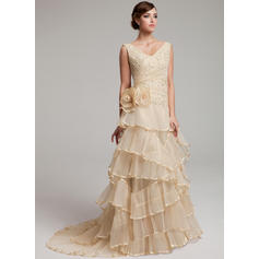 A-Line/Princess Sweetheart Sweep Train Wedding Dresses With Lace Beading Flower(s) Cascading Ruffles Pleated (002211440)