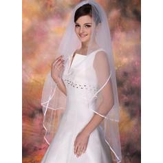 Walzer Braut Schleier Tüll Zweischichtig Ovale mit Band Rand Brautschleier