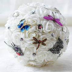 "Bridal Bouquets Round Wedding Satin/Silk/Rhinestone 11.8""(Approx.30cm) Wedding Flowers"