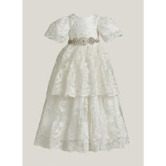 A-Line/Princess Scoop Neck Floor-length Lace Christening Gowns With Rhinestone (2001217406)