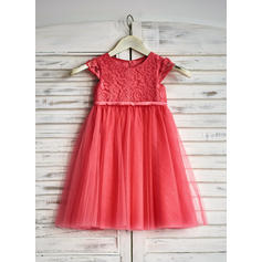 Beautiful Scoop Neck A-Line/Princess Flower Girl Dresses Knee-length Tulle/Lace Sleeveless (010210124)