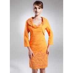 Sheath/Column Chiffon Sleeveless Cowl Neck Knee-Length Zipper Up Mother of the Bride Dresses (008213140)