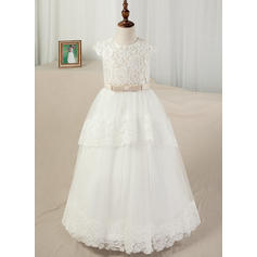 Satin/Tulle/Lace Ball Gown Sash/Appliques Elegant Flower Girl Dresses