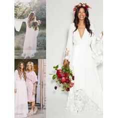 Deep V Neck A-Line/Princess Wedding Dresses Chiffon Lace Sash Long Sleeves Floor-Length