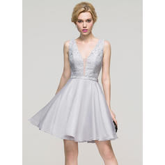 A-Line/Princess V-neck Short/Mini Organza Homecoming Dresses (022214113)
