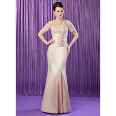 Trumpet/Mermaid Charmeuse Short Sleeves V-neck Floor-Length Zipper Up Mother of the Bride Dresses (008211209)