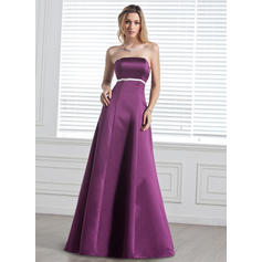Empire Satin Bridesmaid Dresses Sash Bow(s) Strapless Sleeveless Floor-Length (007000887)
