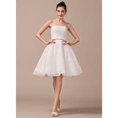 Strapless A-Line/Princess Wedding Dresses Lace Beading Sleeveless ...