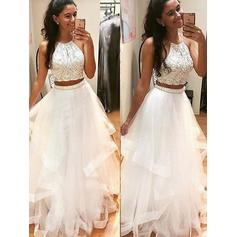 A-Line/Princess Floor-Length Prom Dresses Scoop Neck Tulle Sleeveless (018145397)