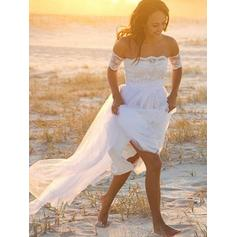 Off-The-Shoulder A-Line/Princess Wedding Dresses Tulle Lace Short Sleeves Floor-Length