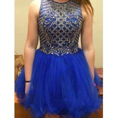 A-Line/Princess Scoop Neck Short/Mini Tulle Homecoming Dresses With Beading