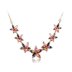 Necklaces Copper/Zircon/Rose Gold Plated Lobster Clasp Ladies' Exquisite Wedding & Party Jewelry