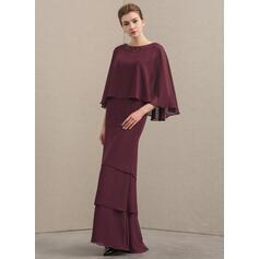 Vestidos princesa/ Formato A Decote redondo Longos Tecido de seda Vestido para a mãe da noiva com Beading lantejoulas Babados em cascata