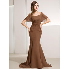 Chiffon Short Sleeves Mother of the Bride Dresses Off-the-Shoulder Trumpet/Mermaid Ruffle Beading Sweep Train