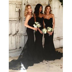 Trumpet/Mermaid Sweetheart Court Train Bridesmaid Dresses (007145098)