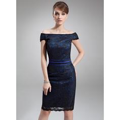 Precioso Fuera del hombro Vestido tubo Charmeuse Encaje Vestidos de madrina (008211222)