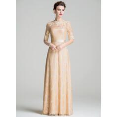 Forme Princesse Col rond Longueur ras du sol Dentelle Robe de mère de la mariée (008076081)