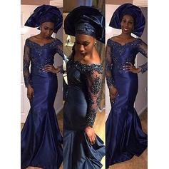Delicate Satin Evening Dresses Trumpet/Mermaid Sweep Train Off-the-Shoulder Long Sleeves