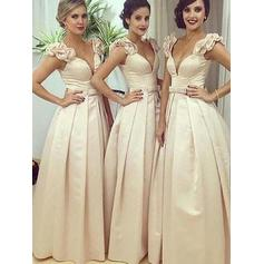 Satin Sleeveless A-Line/Princess Bridesmaid Dresses V-neck Sash Floor-Length