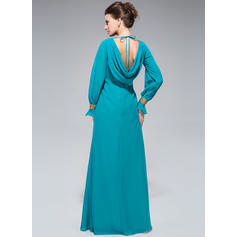 Corte A/Princesa Gasa Manga larga Escote redondo Hasta el suelo Cremallera Vestidos de madrina (008047382)