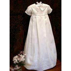 Satiné Col claudine Robes de baptême bébé fille avec Manches courtes (2001216808)