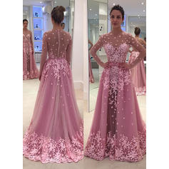 A-Line/Princess Tulle Prom Dresses Appliques Lace Scoop Neck Long Sleeves Floor-Length