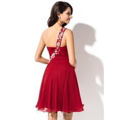Seule-épaule Sans manches Mousseline Chic Robes de soirée étudiante (022214029)