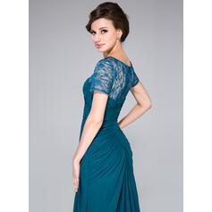 Vestidos princesa/ Formato A Decote redondo Sweep/Brush trem Tecido de seda Vestido para a mãe da noiva com Pregueado Beading lantejoulas (008041170)