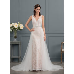 Trumpet/Mermaid V-neck Court Train Lace Wedding Dress With Beading