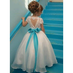 Luxurious Ankle-length A-Line/Princess Flower Girl Dresses Scoop Neck Organza/Lace Sleeveless