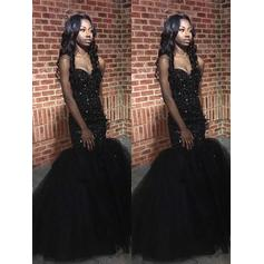 Trumpet/Mermaid Tulle Prom Dresses Luxurious Floor-Length Sweetheart Sleeveless
